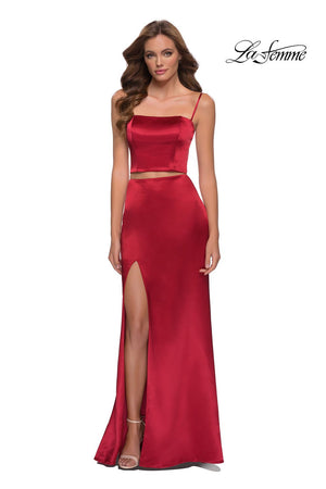La Femme 29941 prom dress images.  La Femme 29941 is available in these colors: Black, Red.