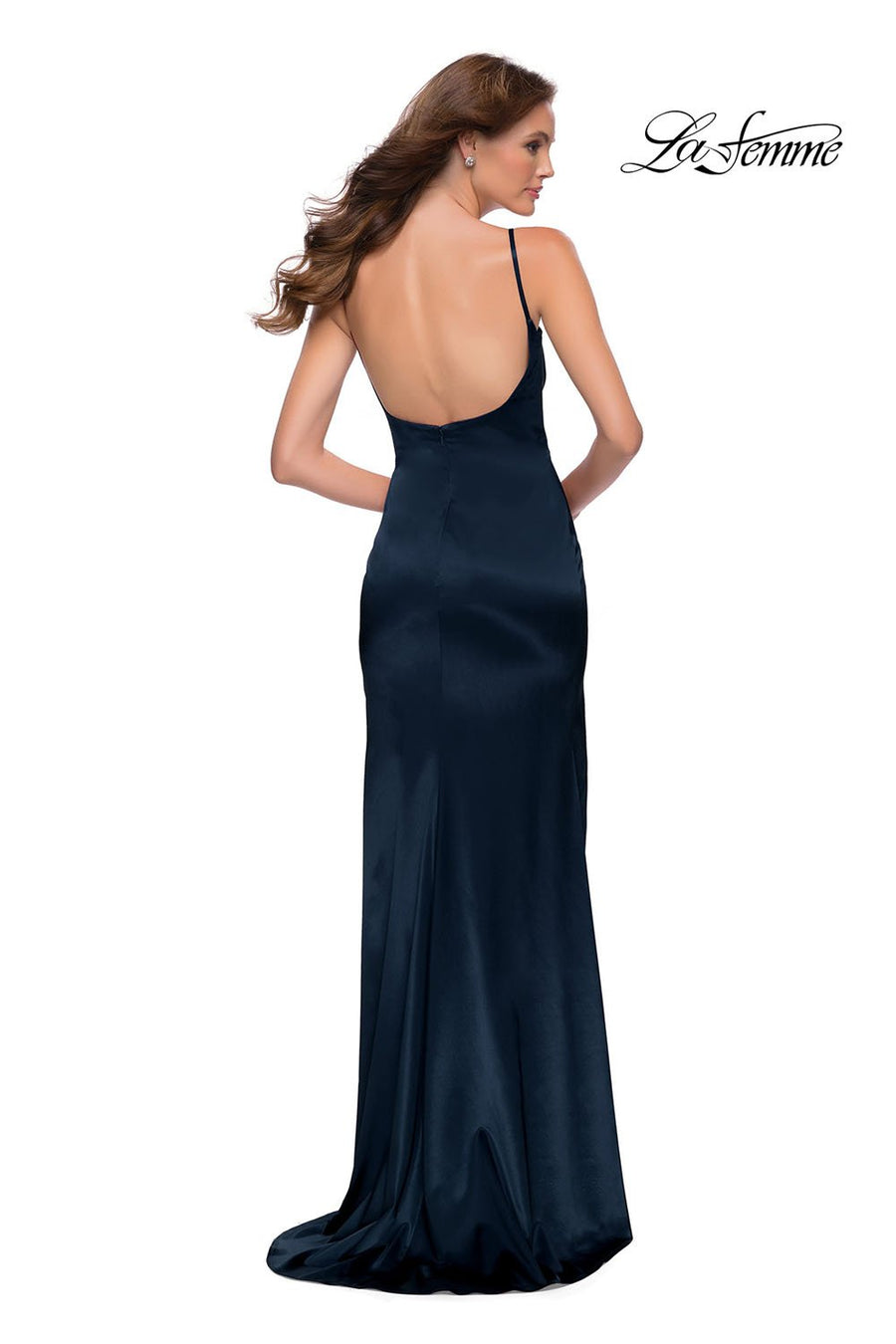 La Femme 29945 prom dress images.  La Femme 29945 is available in these colors: Burgundy, Navy, White.