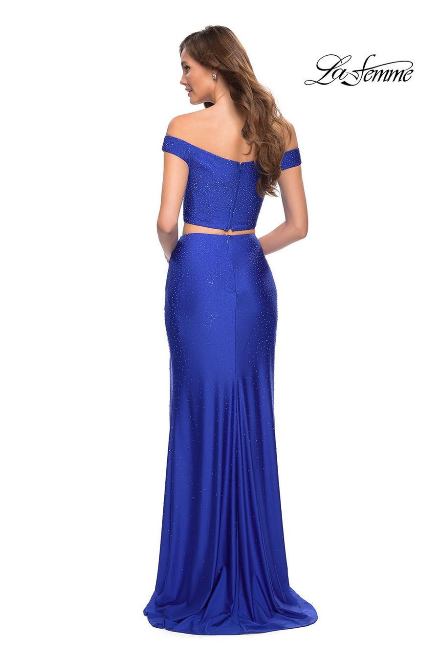 La Femme 29951 prom dress images.  La Femme 29951 is available in these colors: Dark Berry, Pale Yellow, Royal Blue.