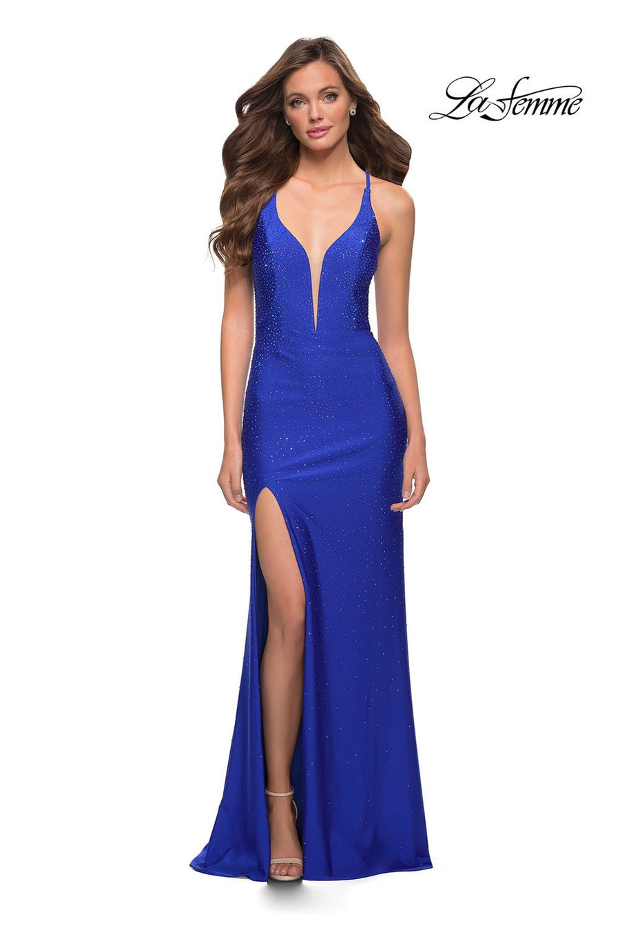 La Femme 29958 prom dress images.  La Femme 29958 is available in these colors: Royal Blue.