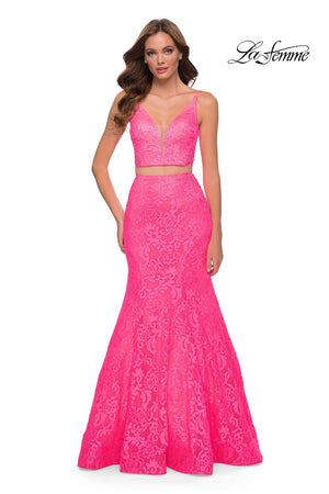 La Femme 29967 prom dress images.  La Femme 29967 is available in these colors: Neon Pink.
