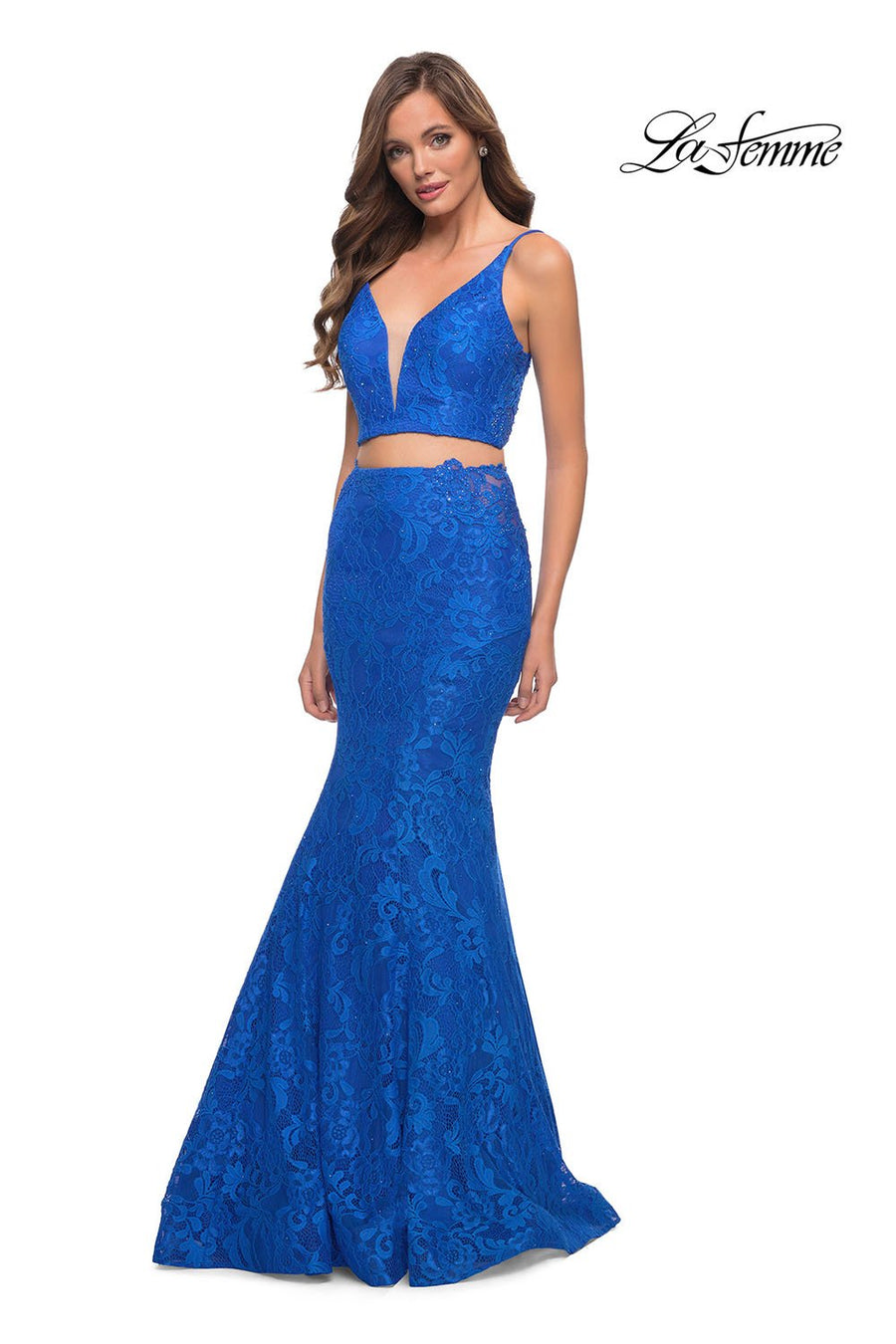 La Femme 29970 prom dress images.  La Femme 29970 is available in these colors: Pale Yellow, Royal Blue.