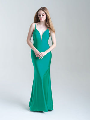 Madison James 20-319 prom dress images.  Madison James 20-319 is available in these colors: Green, Hot Pink, Blue, Black, Bronze.