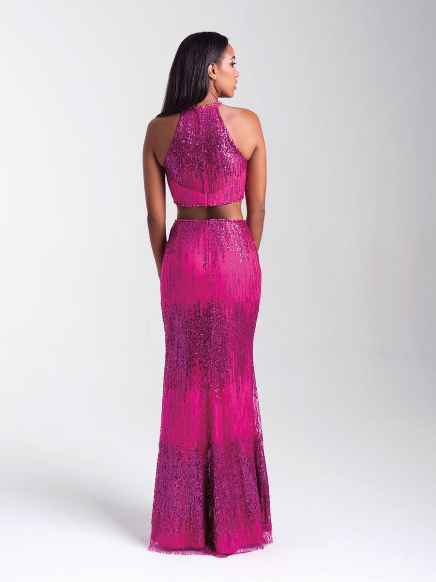 Madison James 20-320 prom dress images.  Madison James 20-320 is available in these colors: Rose Gold, Gold, Navy, Fuchsia.