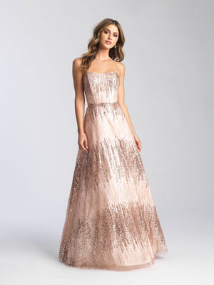Madison James 20-321 prom dress images.  Madison James 20-321 is available in these colors: Rose Gold, Gold, Navy, Fuchsia.