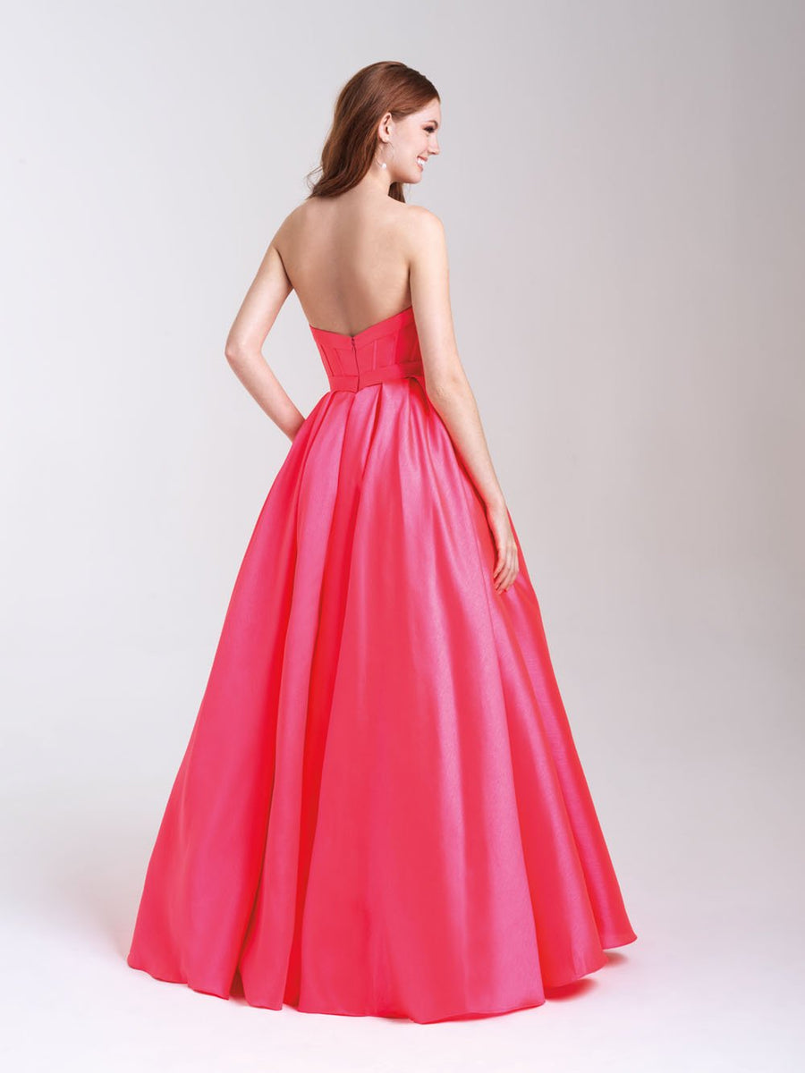 Madison James 20-323 prom dress images.  Madison James 20-323 is available in these colors: Royal, Yellow, Burgundy, Coral, Pink.