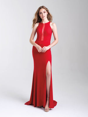 Madison James 20-339 prom dress images.  Madison James 20-339 is available in these colors: Silver, Navy, Red.