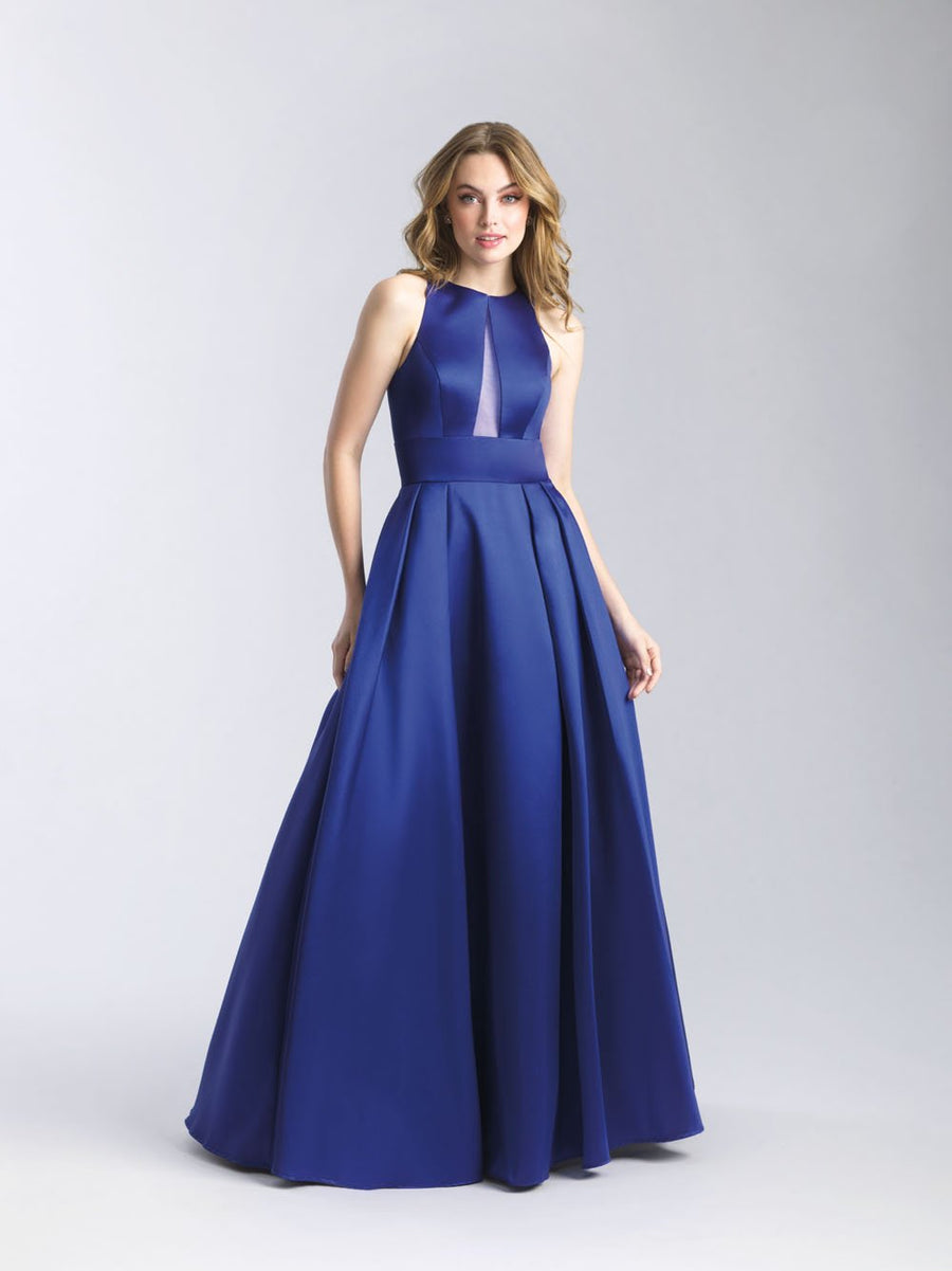 Madison James 20-341 prom dress images.  Madison James 20-341 is available in these colors: Royal, Yellow, Purple, Silver, Red, Black.