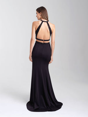 Madison James 20-348 prom dress images.  Madison James 20-348 is available in these colors: Black, Royal, Magenta.