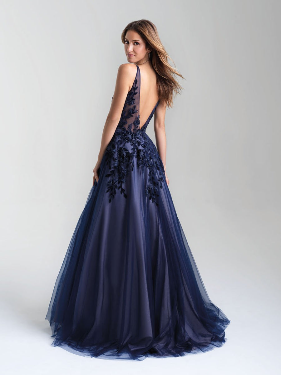 Madison James 20-351 prom dress images.  Madison James 20-351 is available in these colors: Navy Nude, Black Nude, Ivory.
