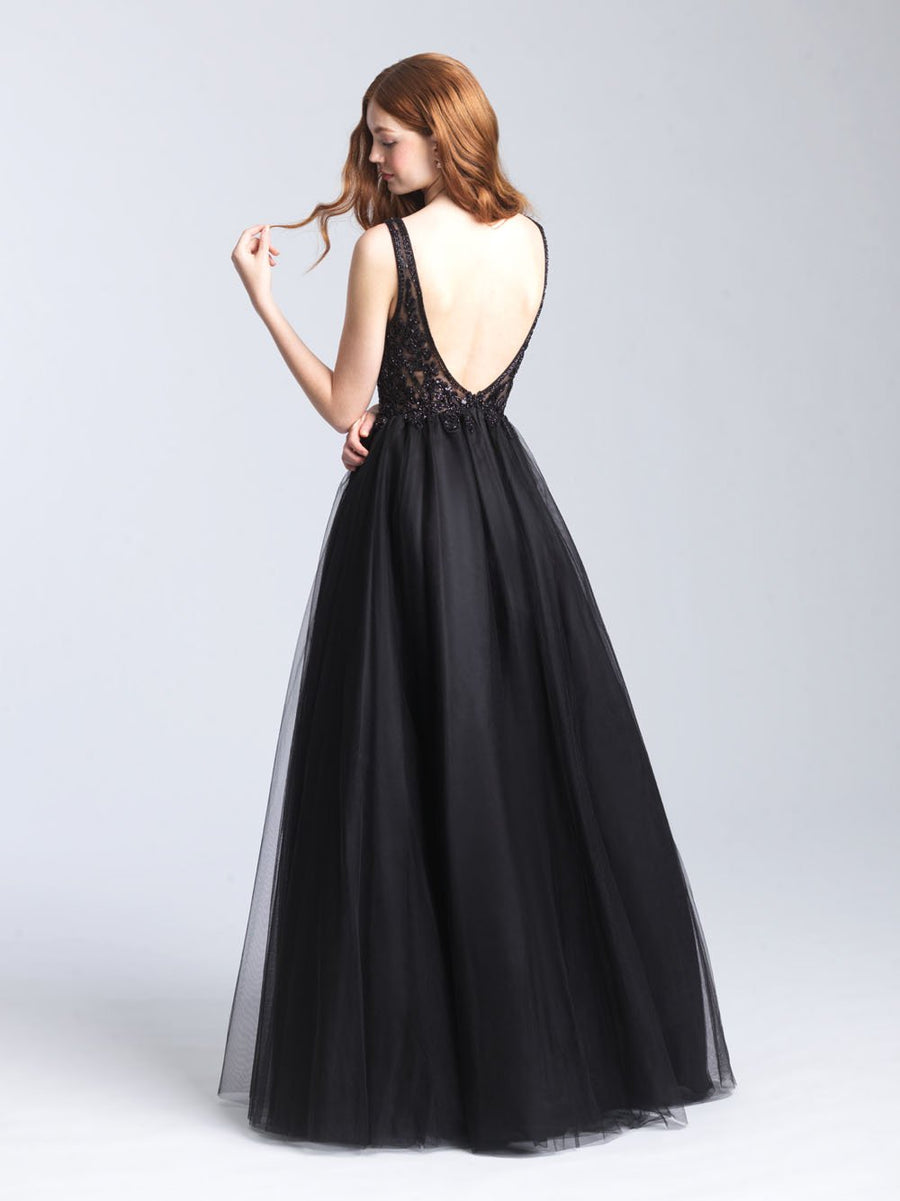 Madison James 20-354 prom dress images.  Madison James 20-354 is available in these colors: Purple, Red, Black.
