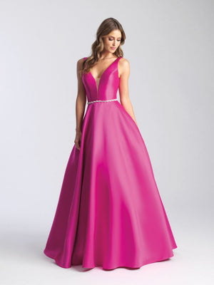 Madison James 20-357 prom dress images.  Madison James 20-357 is available in these colors: Emerald, Fuchsia, Silver, Royal, Yellow.