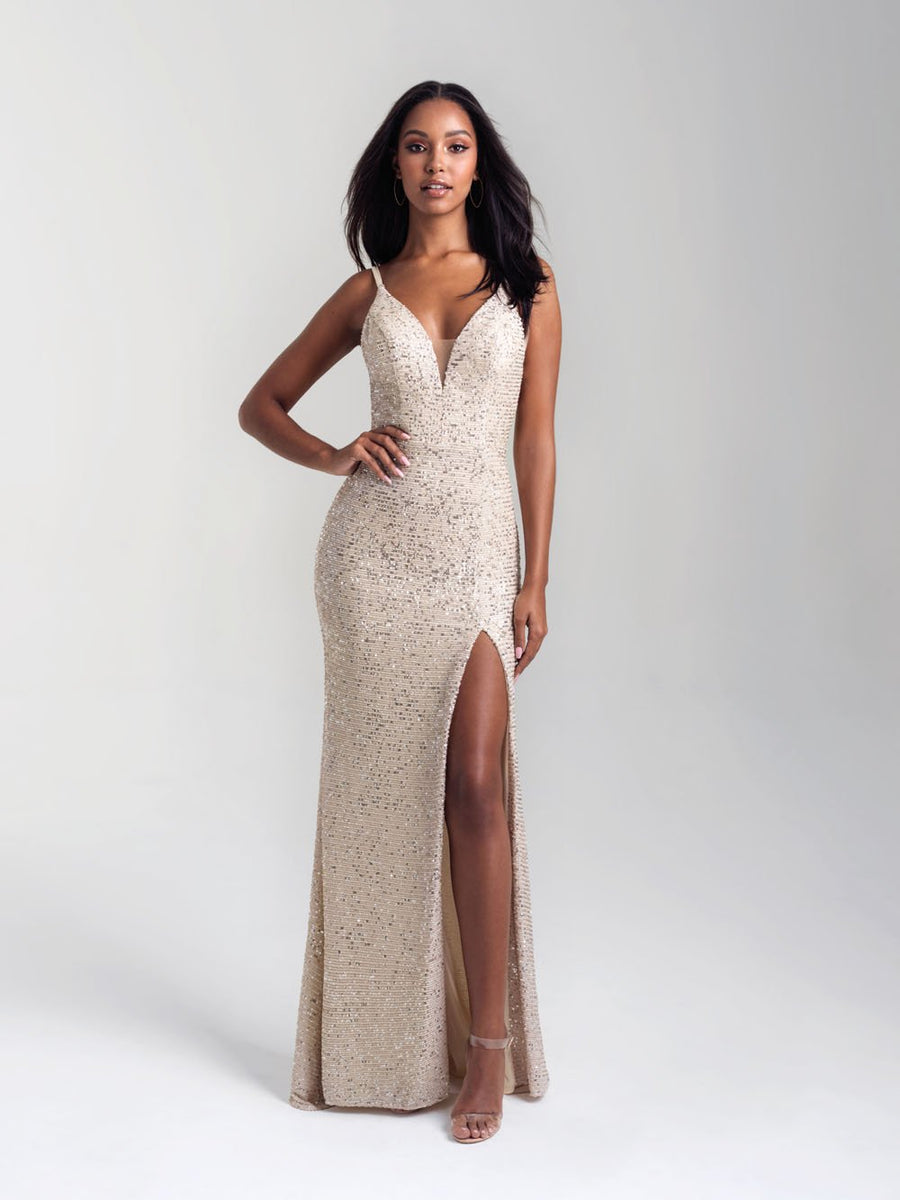 Madison James 20-367 prom dress images.  Madison James 20-367 is available in these colors: Black Silver, Grey, Champagne.