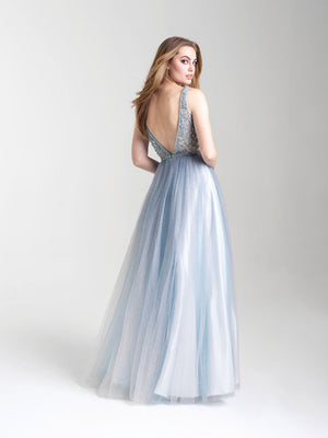 Madison James 20-369 prom dress images.  Madison James 20-369 is available in these colors: Dusty Rose, Dusty Blue.