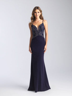 Madison James 20-370 prom dress images.  Madison James 20-370 is available in these colors: Dusty Rose, Royal, Navy.
