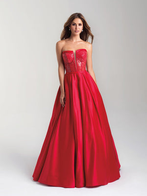 Madison James 20-372 prom dress images.  Madison James 20-372 is available in these colors: Red, Navy, Black.