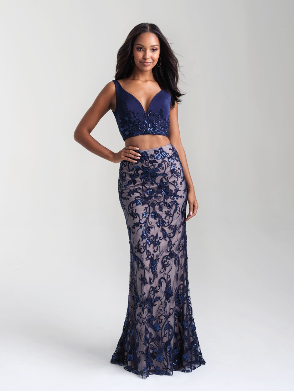 Madison James 20-380 prom dress images.  Madison James 20-380 is available in these colors: Navy Nude, Black Nude, Ivory.