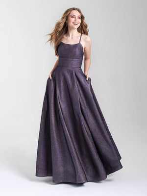 Madison James 20-381 prom dress images.  Madison James 20-381 is available in these colors: Turquoise, Purple, Copper Rose.