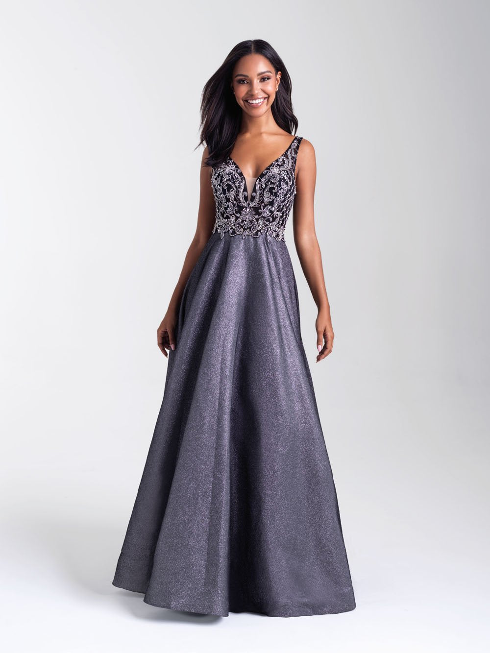 Madison James 20-390 prom dress images.  Madison James 20-390 is available in these colors: Black, Purple, Gold.