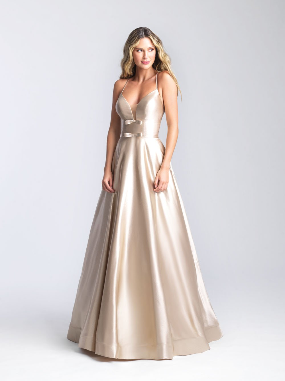 Madison James 20-392 prom dress images.  Madison James 20-392 is available in these colors: Champagne, Pink, Light Blue.
