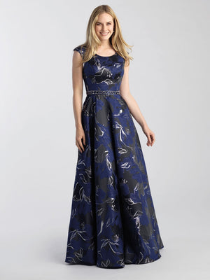 Madison James 20-501M prom dress images.  Madison James 20-501M is available in these colors: Black Navy, Black Silver, Black Green.