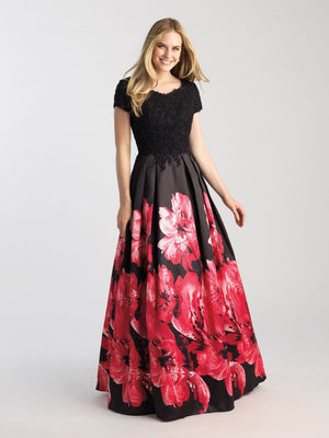 Madison James 20-504M prom dress images.  Madison James 20-504M is available in these colors: Red Multi, Blue Multi.
