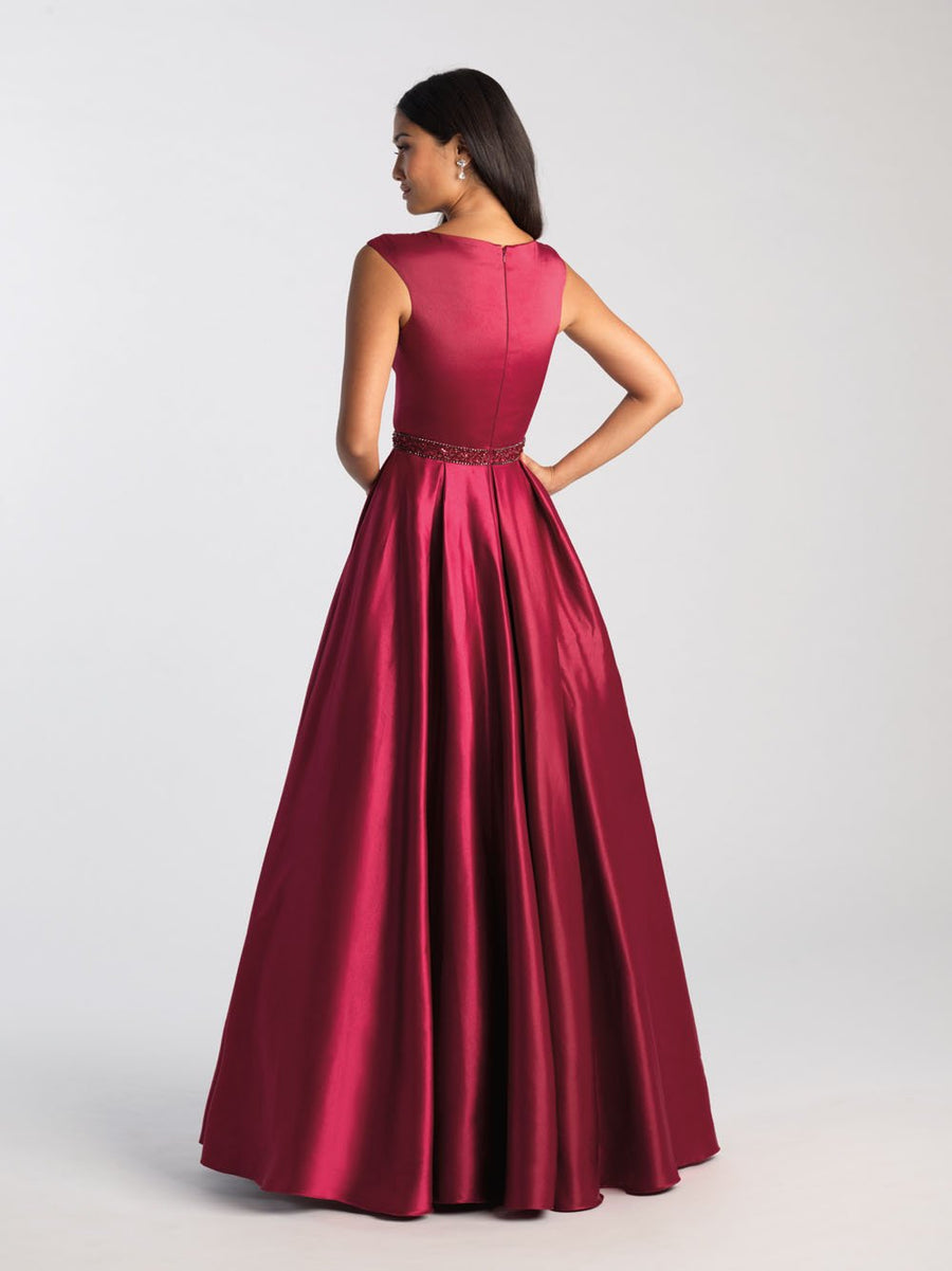 Madison James 20-506M prom dress images.  Madison James 20-506M is available in these colors: Burgundy, Purple, Navy.