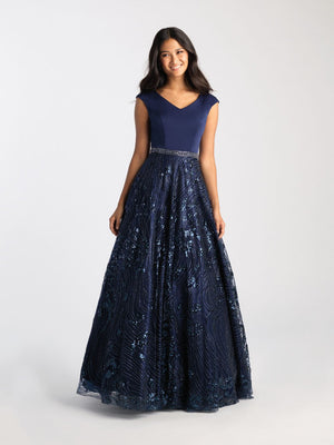 Madison James 20-508M prom dress images.  Madison James 20-508M is available in these colors: Navy, Rose Gold.