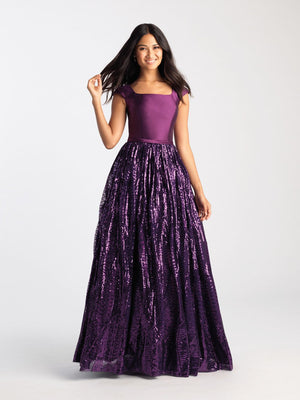 Madison James 20-509M prom dress images.  Madison James 20-509M is available in these colors: Black, Purple.