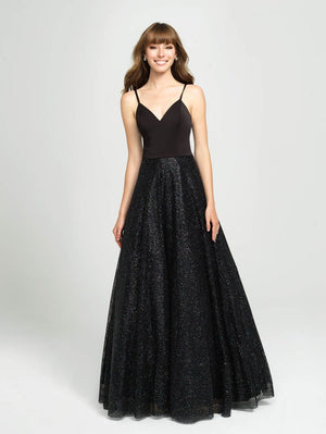 Madison James 19-100 prom dress images.  Madison James 19-100 is available in these colors: Navy, Rose Gold Gold, Black.