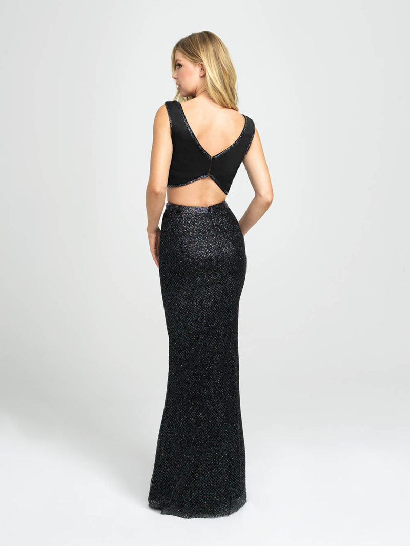 Madison James 19-101 prom dress images.  Madison James 19-101 is available in these colors: Navy, Rose Gold Gold, Black.