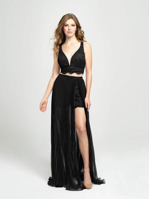 Madison James 19-103 prom dress images.  Madison James 19-103 is available in these colors: Royal, Magenta, Black.