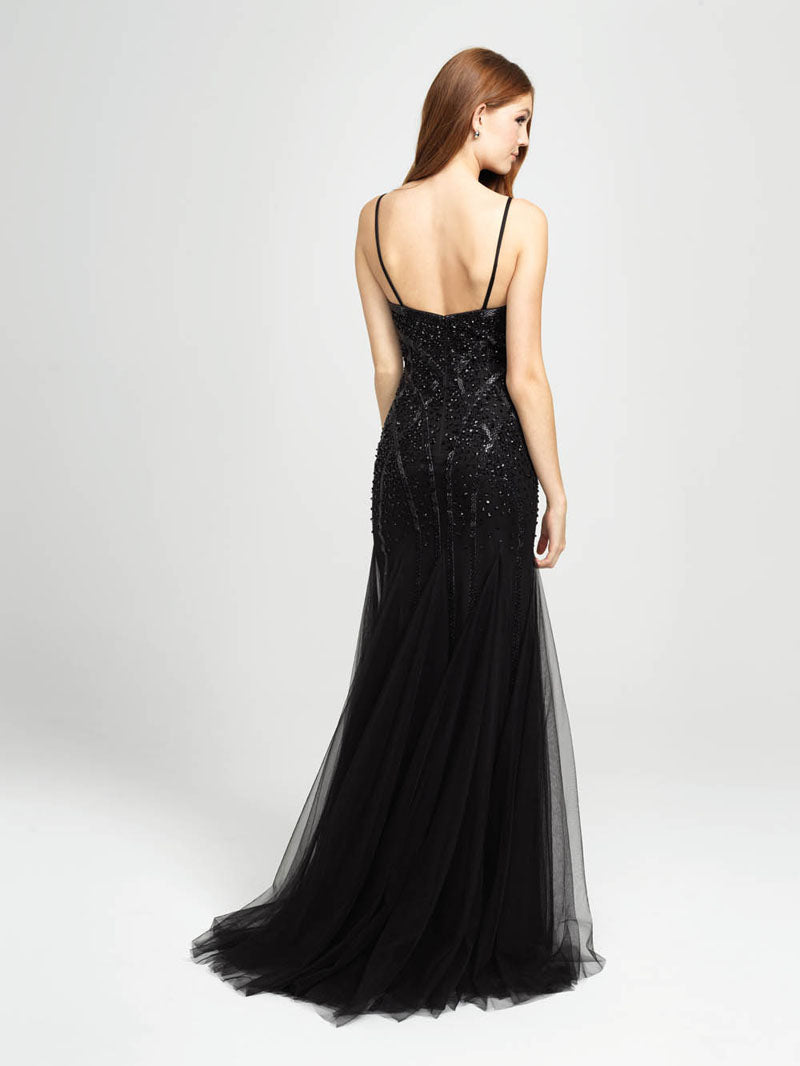 Madison James 19-105 prom dress images.  Madison James 19-105 is available in these colors: Black, Red, Royal.