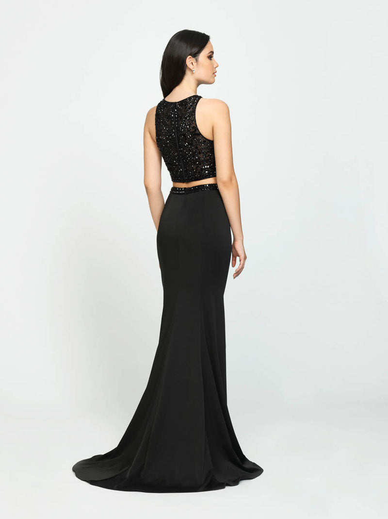 Madison James 19-106 prom dress images.  Madison James 19-106 is available in these colors: Black, Burgundy, Charcoal, Royal.