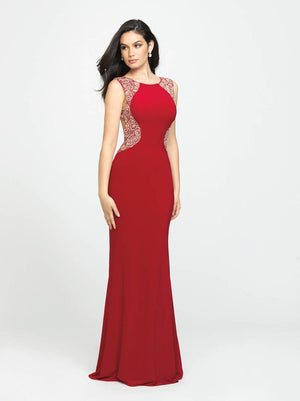 Madison James 19-116 prom dress images.  Madison James 19-116 is available in these colors: Red, Black, Pewter.