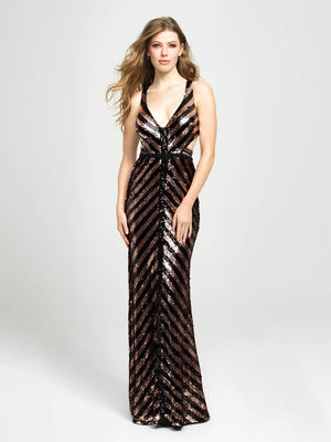 Madison James 19-117 prom dress images.  Madison James 19-117 is available in these colors: Black Royal, Black Coffee.