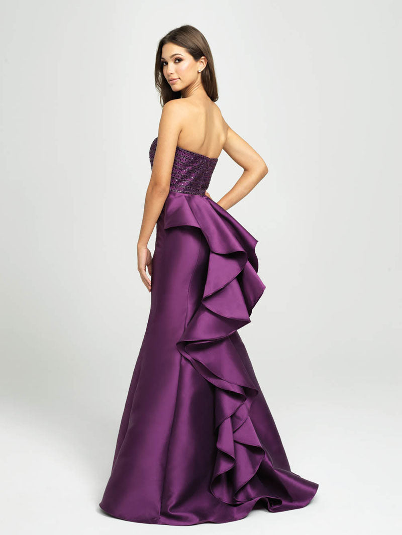 Madison James 19-118 prom dress images.  Madison James 19-118 is available in these colors: Purple, Black, Red.