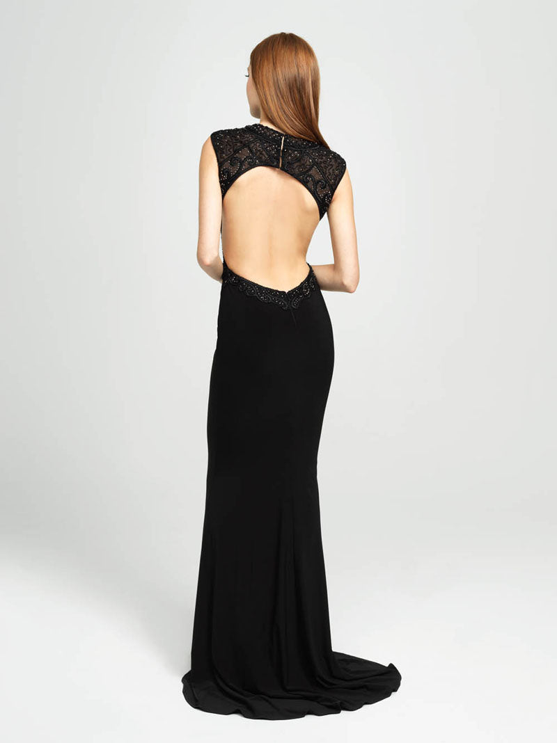 Madison James 19-121 prom dress images.  Madison James 19-121 is available in these colors: Black, Navy, Burgundy.