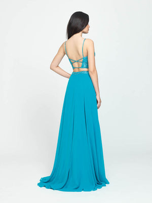 Madison James 19-129 prom dress images.  Madison James 19-129 is available in these colors: Turquoise, Fuchsia, Black, Blush.