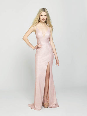 Madison James 19-131 prom dress images.  Madison James 19-131 is available in these colors: Champagne, Rose Gold.
