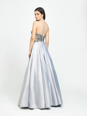 Madison James 19-132 prom dress images.  Madison James 19-132 is available in these colors: Champagne, Rose Gold.