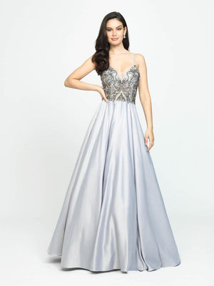 Madison James 19-133 prom dress images.  Madison James 19-133 is available in these colors: Blue, Silver.