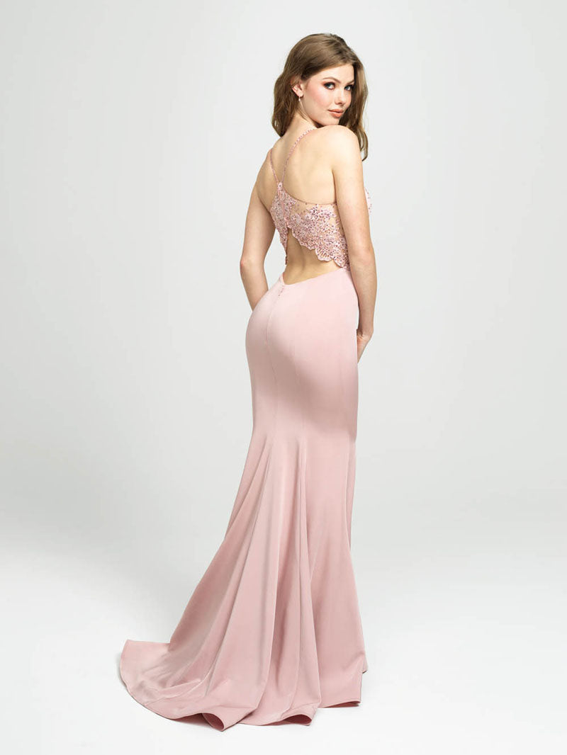 Madison James 19-135 prom dress images.  Madison James 19-135 is available in these colors: Blush, Black, Light. Blue, Royal.