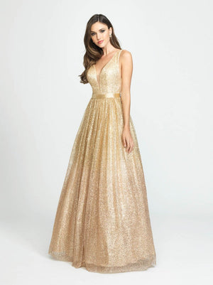 Madison James 19-136 prom dress images.  Madison James 19-136 is available in these colors: Silver Aqua, Rose Gold Gold.