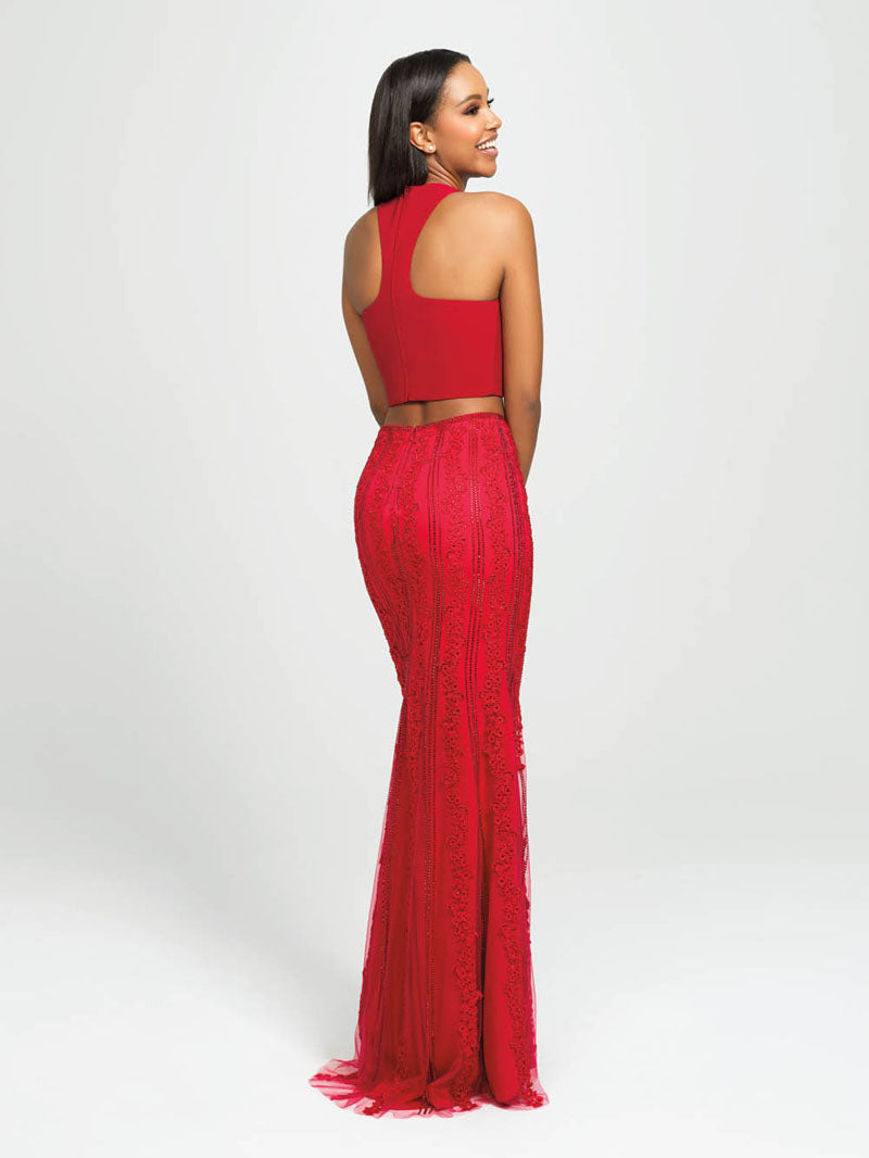 Madison James 19-141 prom dress images.  Madison James 19-141 is available in these colors: Red, Navy, Black.