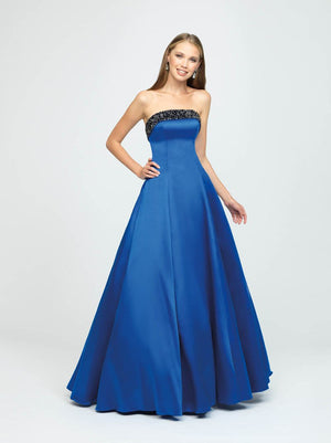 Madison James 19-142 prom dress images.  Madison James 19-142 is available in these colors: Black, White, Royal.