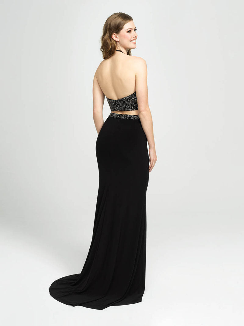 Madison James 19-143 prom dress images.  Madison James 19-143 is available in these colors: Black, White, Royal.