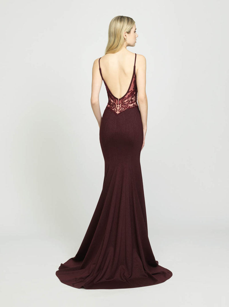 Madison James 19-144 prom dress images.  Madison James 19-144 is available in these colors: Royal, Burgundy, Blush, Navy.