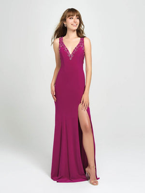 Madison James 19-150 prom dress images.  Madison James 19-150 is available in these colors: Royal, Fuchsia, Black, Red.