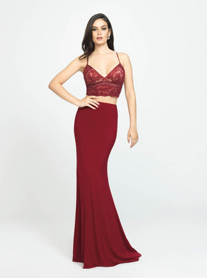 Madison James 19-151 prom dress images.  Madison James 19-151 is available in these colors: Black, Wine.